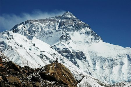 Landscape of Mount Everest from the Base Camp at the north face in Tibet Stock Photo - Budget Royalty-Free & Subscription, Code: 400-05358577