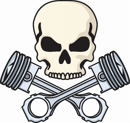 Illustration of a skull above crossed pistons. Available as easily editable and scalable vector illustration. Stock Photo - Budget Royalty-Free & Subscription, Code: 400-05358582