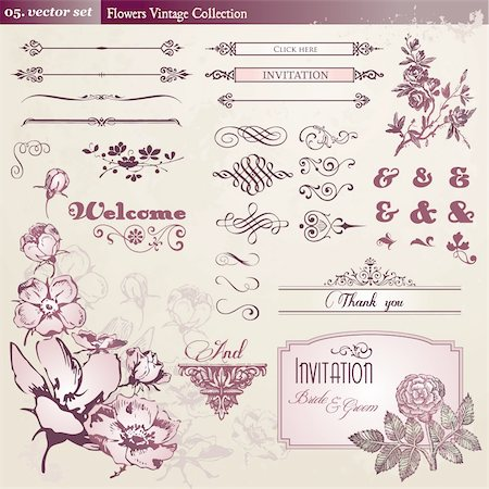 Set of flowers and vintage elements Stock Photo - Budget Royalty-Free & Subscription, Code: 400-05359010