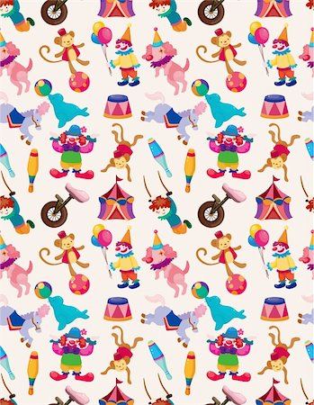 cartoon happy circus seamless pattern Stock Photo - Budget Royalty-Free & Subscription, Code: 400-05359213