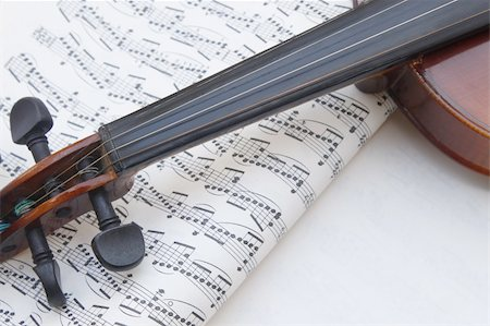 Musical note background  and instruments violin Stock Photo - Budget Royalty-Free & Subscription, Code: 400-05359465