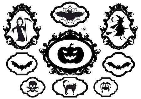 simsearch:400-04399778,k - halloween set with frames, vector design elements Stock Photo - Budget Royalty-Free & Subscription, Code: 400-05359477