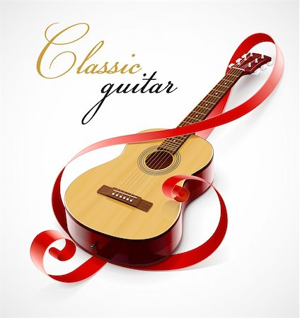 classic guitar as clef simbol vector illustration isolated on white background Stock Photo - Budget Royalty-Free & Subscription, Code: 400-05350663