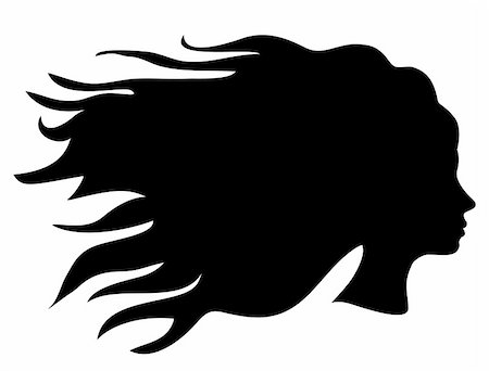 female lips drawing - Vector illustration of a head silhouette with long hair Stock Photo - Budget Royalty-Free & Subscription, Code: 400-05350938