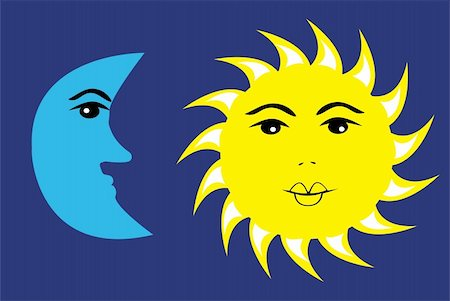 Vector illustration of sun and moon Stock Photo - Budget Royalty-Free & Subscription, Code: 400-05350939