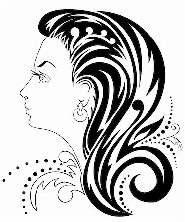 silhouette of a beautiful woman's head with an elaborate hairdo Stock Photo - Budget Royalty-Free & Subscription, Code: 400-05352329