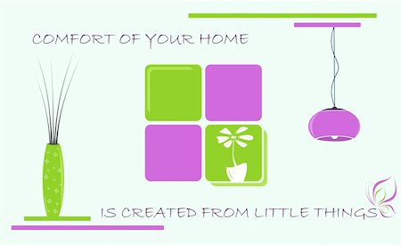 Little things for comfort of home. Vector Illustration. Stock Photo - Budget Royalty-Free & Subscription, Code: 400-05352881