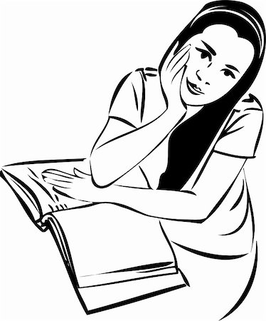 a sketch of a girl at a table in a book Stock Photo - Budget Royalty-Free & Subscription, Code: 400-05352964