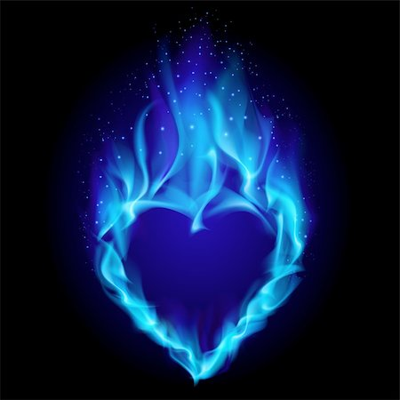 smoke magic abstract - Heart in blue fire. Illustration on black background for design Stock Photo - Budget Royalty-Free & Subscription, Code: 400-05352987