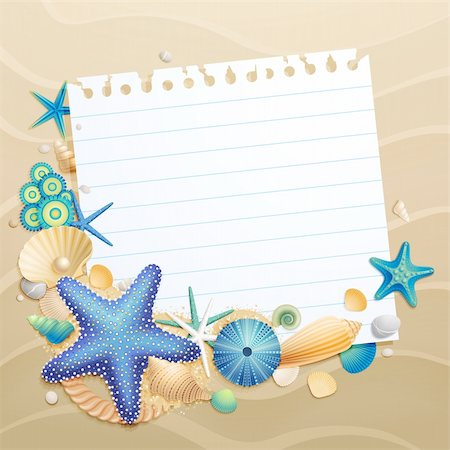 Greeting card with shells and starfishes on sand background. Vector illustration. Stock Photo - Budget Royalty-Free & Subscription, Code: 400-05353092