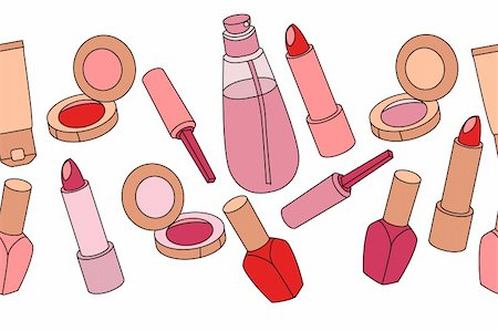 Various cosmetics in seamless border on white background Stock Photo - Budget Royalty-Free & Subscription, Code: 400-05364544