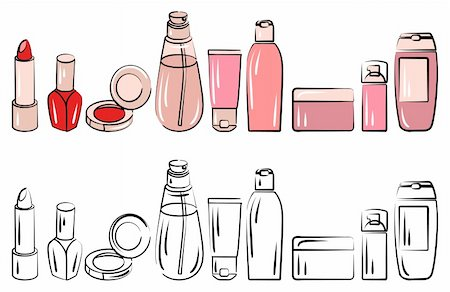 Set with various cosmetics. Contour and coloured versions. Stock Photo - Budget Royalty-Free & Subscription, Code: 400-05364554