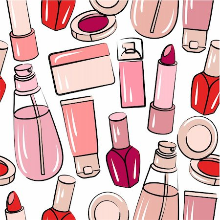 Seamless pink pattern with various stylized cosmetics Stock Photo - Budget Royalty-Free & Subscription, Code: 400-05364555