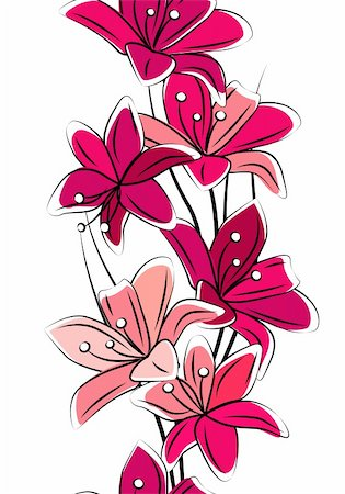 Seamless vertical border with red lilies on white Stock Photo - Budget Royalty-Free & Subscription, Code: 400-05364550