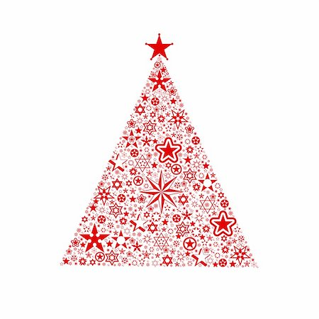 Beautiful christmas decoration of stars tree isolated on white Stock Photo - Budget Royalty-Free & Subscription, Code: 400-05364707