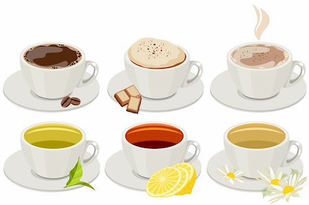 Set of cups with hot drinks isolated on white. No gradients,no meshes Stock Photo - Budget Royalty-Free & Subscription, Code: 400-05366005