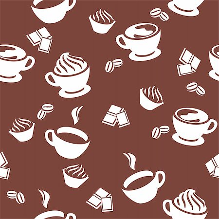 Seamless simple brown pattern with different cups of coffee Stock Photo - Budget Royalty-Free & Subscription, Code: 400-05366044