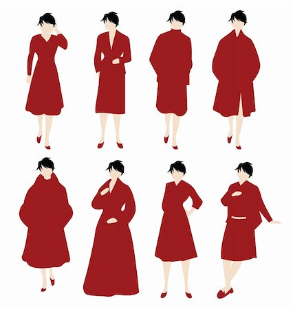 simsearch:400-04096935,k - vector set of women in red Stock Photo - Budget Royalty-Free & Subscription, Code: 400-05366494