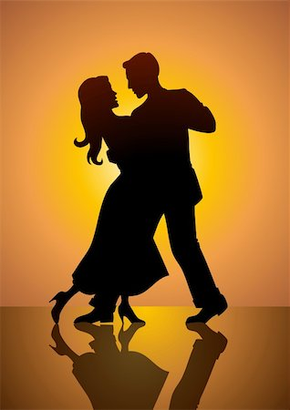 A silhouette illustration of a couple dancing Stock Photo - Budget Royalty-Free & Subscription, Code: 400-05367090