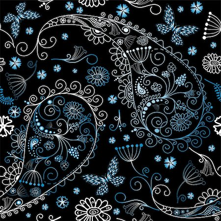 Black seamless floral pattern with paisley and butterflies (vector) Stock Photo - Budget Royalty-Free & Subscription, Code: 400-05367512