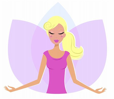 Yoga blond Woman practicing yoga, pink Lotus Flower behind the girl. Vector Illustration. Stock Photo - Budget Royalty-Free & Subscription, Code: 400-05367786