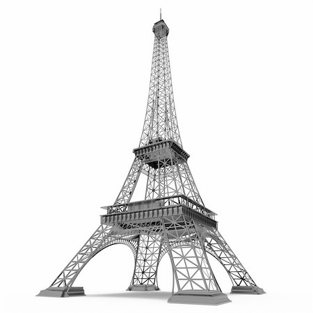 enki (artist) - Eiffel Tower in Paris isolated on white background Stock Photo - Budget Royalty-Free & Subscription, Code: 400-05368068
