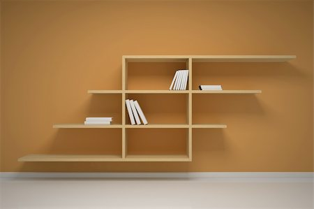 enki (artist) - Bookshelf on the wall with books and dvd Stock Photo - Budget Royalty-Free & Subscription, Code: 400-05368086