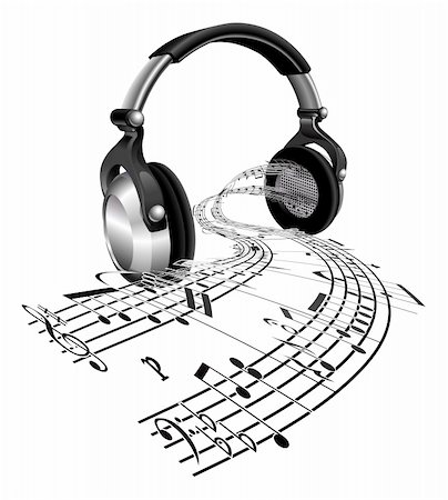 Music streaming from a pair of headphones in the form of sheet music notes Stock Photo - Budget Royalty-Free & Subscription, Code: 400-05360010