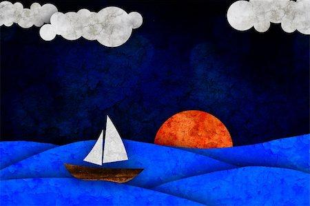 sailing boat storm - sea, sun, sailboat and clouds Stock Photo - Budget Royalty-Free & Subscription, Code: 400-05360224