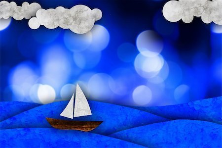 sailing boat storm - Sailboat, sea and clouds, illustration Stock Photo - Budget Royalty-Free & Subscription, Code: 400-05360237