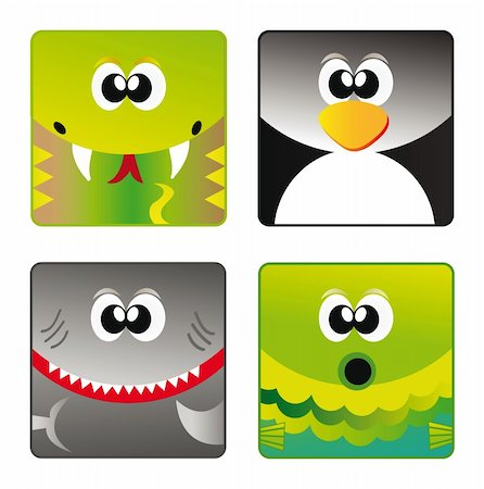 fun happy colorful background images - Set of cartoon happy animal set - snake, penguin, shark and fish isolation over white background Stock Photo - Budget Royalty-Free & Subscription, Code: 400-05360724