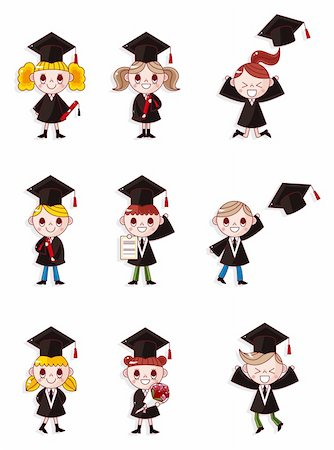 students learning cartoon - Cartoon Graduate students icons set Stock Photo - Budget Royalty-Free & Subscription, Code: 400-05361892