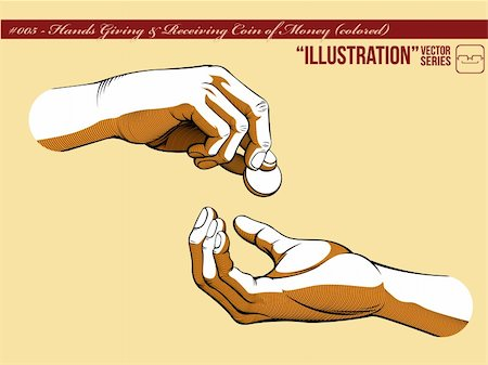 A vector of two hands, one giving coin of money and the other receiving it. Symbolizing the concept of generosity, charity, and helping others.  Available as a Vector in EPS8 format that can be scaled to any size without loss of quality. Stock Photo - Budget Royalty-Free & Subscription, Code: 400-05362383