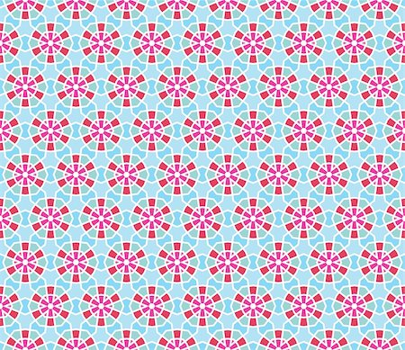 Geometrical vector pattern (seamless) with stars and flowers in blue, pink, red, green Stock Photo - Budget Royalty-Free & Subscription, Code: 400-05363548
