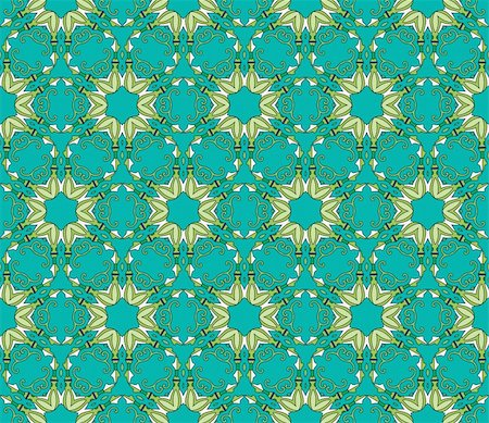 Seamless and elegant Baroque pattern with colorful swirls on a green background Stock Photo - Budget Royalty-Free & Subscription, Code: 400-05363616
