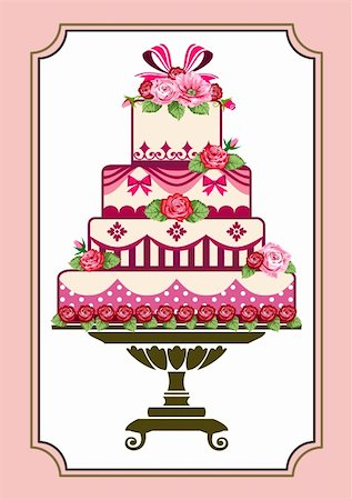 elakwasniewski (artist) - Sweet pink cake with roses, template to birthday or wedding Stock Photo - Budget Royalty-Free & Subscription, Code: 400-05363764