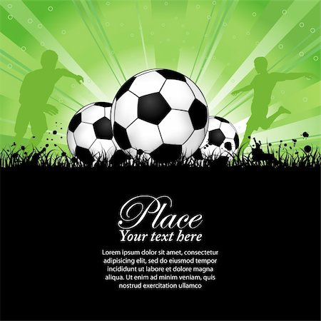 Soccer Players with ball on grunge background, element for design, vector illustration Stock Photo - Budget Royalty-Free & Subscription, Code: 400-05374085