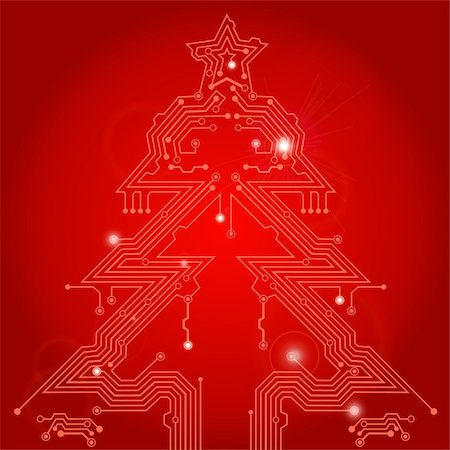 Christmas Tree from circuit board with Star, element for design, eps10 vector illustration Stock Photo - Budget Royalty-Free & Subscription, Code: 400-05374104