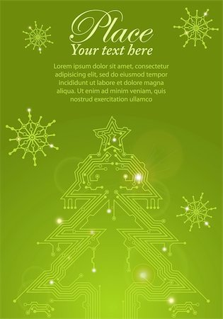 Christmas Tree from circuit board with Digital Snowflake, element for design, eps10 vector illustration Stock Photo - Budget Royalty-Free & Subscription, Code: 400-05374105
