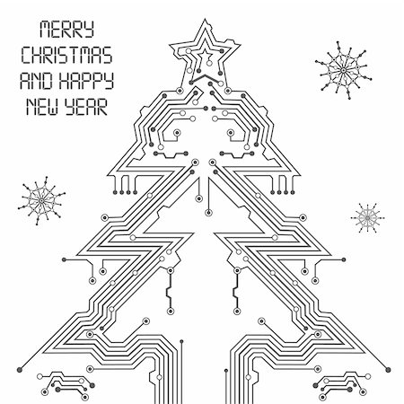 Christmas Tree from circuit board with Digital Snowflake, element for design, vector illustration Stock Photo - Budget Royalty-Free & Subscription, Code: 400-05374108