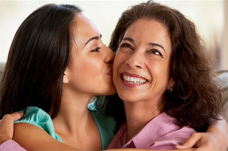 Mother And Daughter Together At Home Stock Photo - Budget Royalty-Free & Subscription, Code: 400-05374686