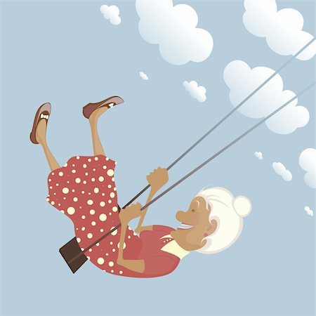 A funny granny on the swing is happy like a child. Stock Photo - Budget Royalty-Free & Subscription, Code: 400-05375387