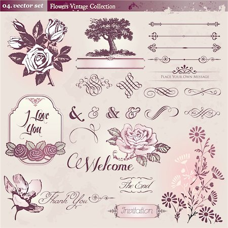 Collection of vintage floral elements Stock Photo - Budget Royalty-Free & Subscription, Code: 400-05375390