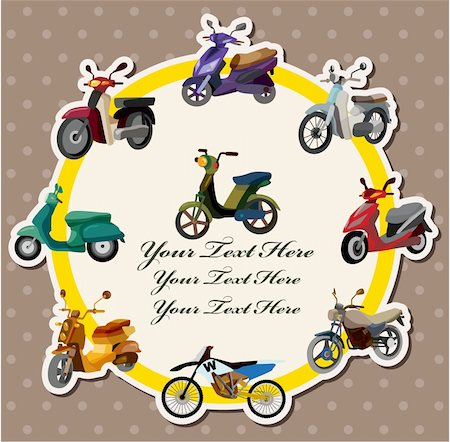 sports scooters - cartoon motorcycle card Stock Photo - Budget Royalty-Free & Subscription, Code: 400-05376563