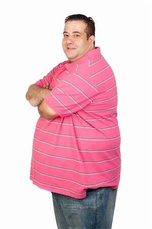 Worried fat man with pink shirt isolated on white background Stock Photo - Budget Royalty-Free & Subscription, Code: 400-05376828