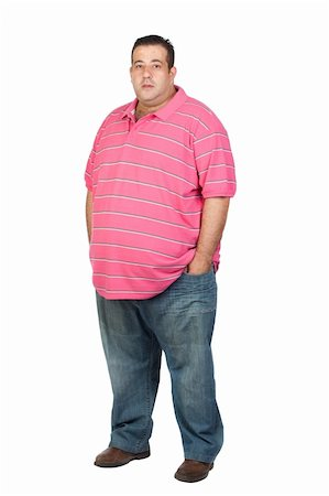 Fat man with pink shirt isolated on white background Stock Photo - Budget Royalty-Free & Subscription, Code: 400-05376833