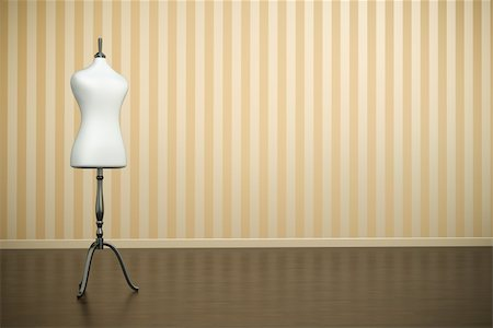 Empty old-fashioned interior with white clothing mannequin. 3D render. Stock Photo - Budget Royalty-Free & Subscription, Code: 400-05376854