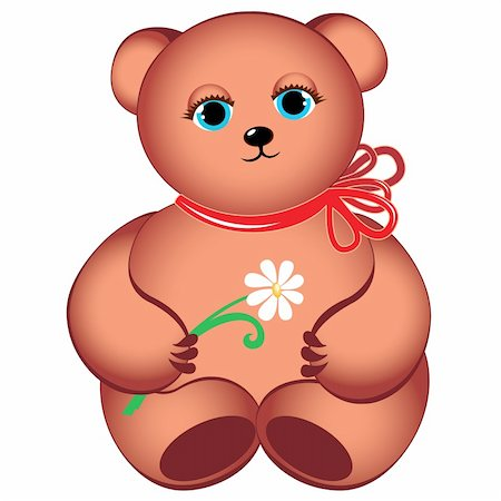 simsearch:400-04598294,k - Little teddy bear with flower. Illustration on white background Stock Photo - Budget Royalty-Free & Subscription, Code: 400-05376929