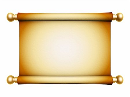 sgame - golden scroll parchment isolated on white background Stock Photo - Budget Royalty-Free & Subscription, Code: 400-05376974