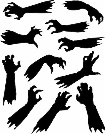 Halloween set of scary zombie hands silhouettes Stock Photo - Budget Royalty-Free & Subscription, Code: 400-05377174
